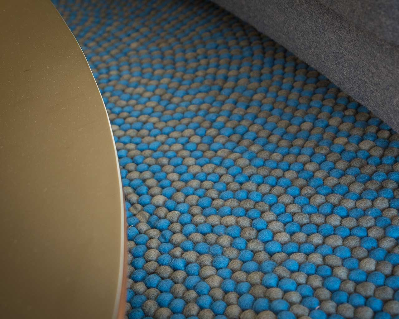 Close Up Carpet Felted Ball Blue Light Grey 2