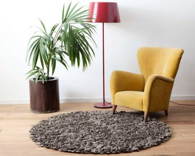 Custom cut felt rug natural grey 160cm OUTLET