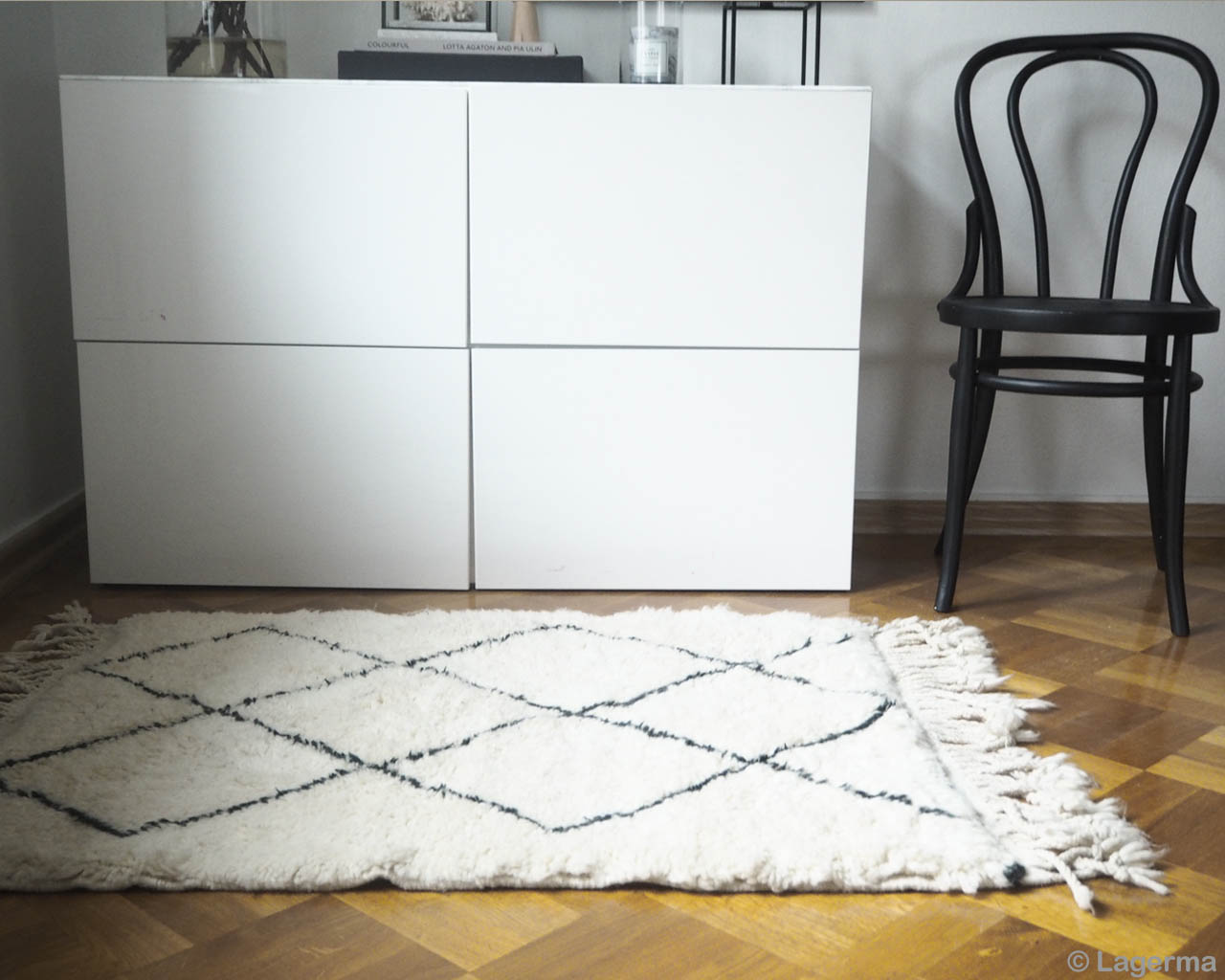 cabinet and black chair moroccan made beni ourain contemporary rugs