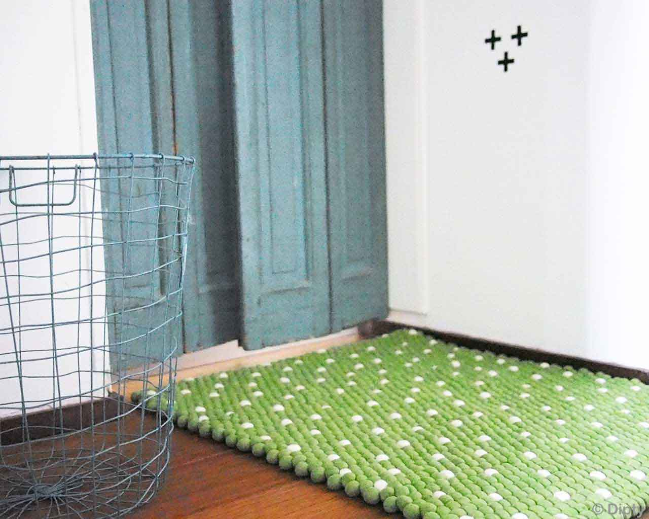 woolen steel basket made by nepalian green felt ball carpet