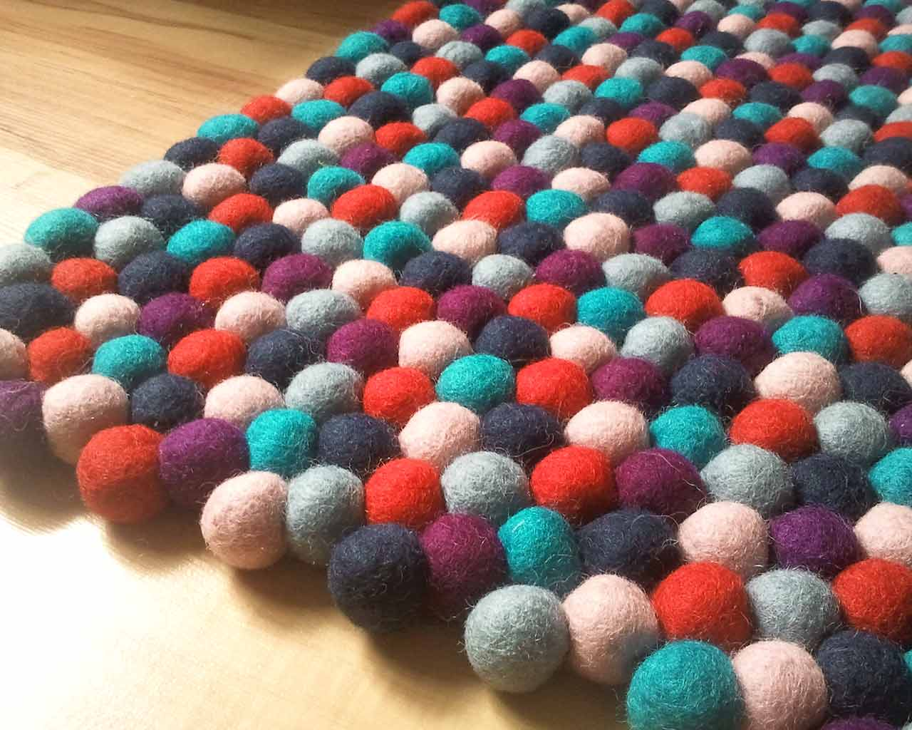 close up felted rug colorful rectangular