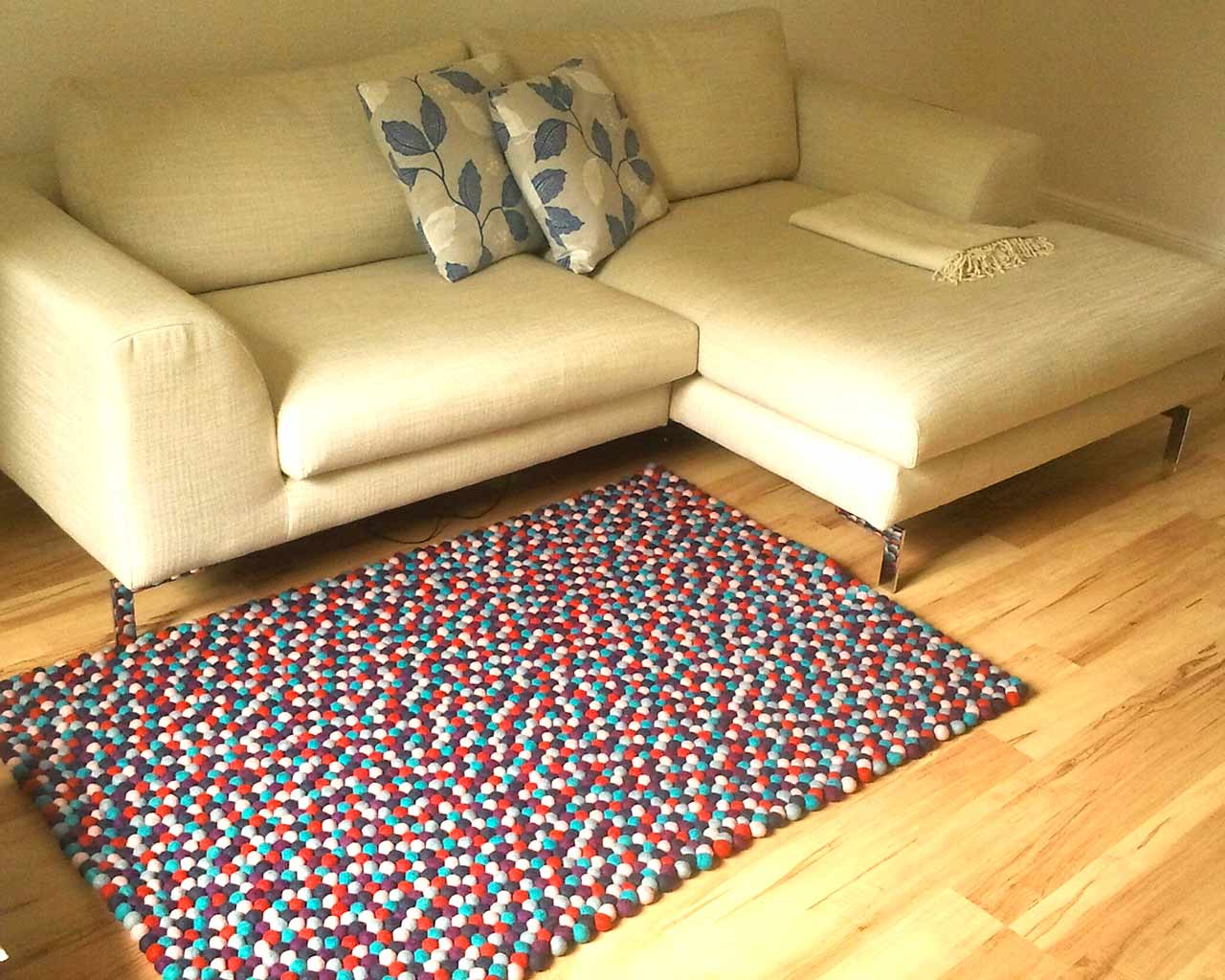 living room felt ball rug cotton couch