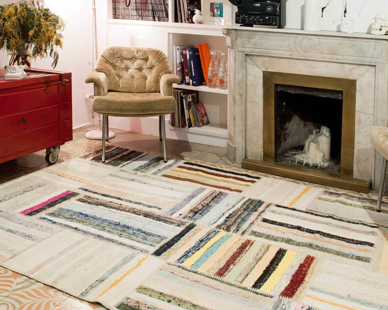 hippie carpet sukhi structure handmade fire stripes