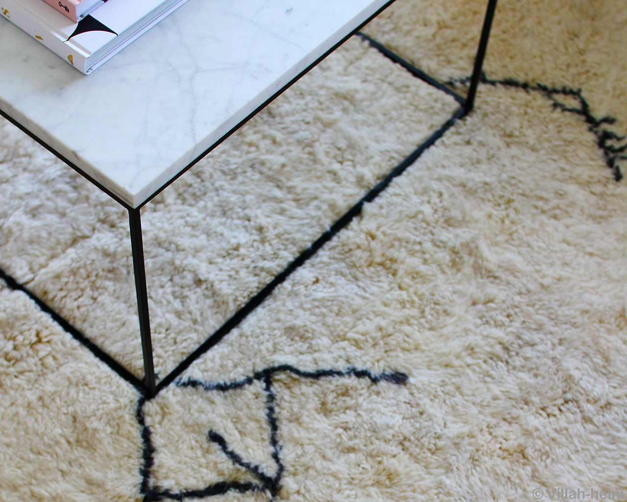 marble coffee table high pile carpet wool black white colors 1